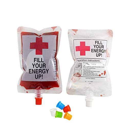 HORHIN Halloween Party Drinking Blood Bag 250ML 8.5oz 22 Bags with Fast Filling Funnel Reusable Container Cup for Halloween