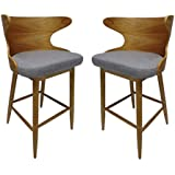 Great Deal Furniture 304581 Truda Mid Century Modern Fabric Barstools | Set of 2 | in Light Grey, Natural
