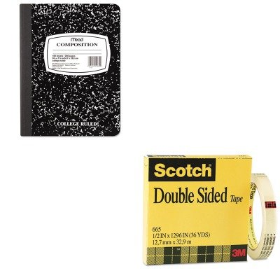 KITMEA09910MMM665121296 - Value Kit - Scotch Double Sided Office Tape (MMM665121296) and Mead Black Marble Composition Book (MEA09910)