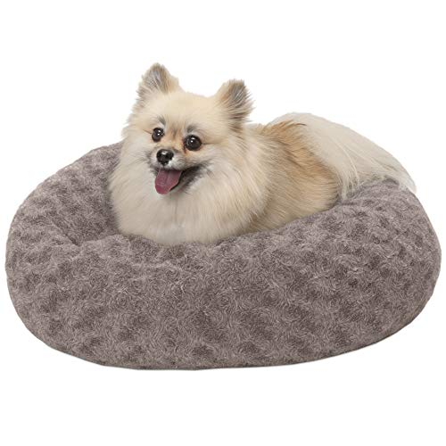 Donut Small Dog Bed - FurHaven Pet Donut Bed | Deep Dish Curly Fur Donut Pet Bed for Dogs & Cats, Cocoa Dust, Small