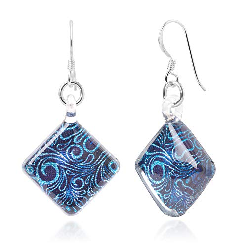 925 Sterling Silver Glass Jewelry Glittery Blue Abstract Art Curve Design Dangle Square Earrings