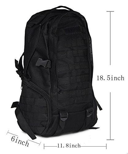 Cool Walker Military Tactical Backpack Assault Rucksack Camping Hiking Trekking Bag, B07MC16-Black