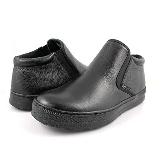 Laforst Custer Mens Work Slip Resistant Tumble Leather Slip On Server Flats Black 9