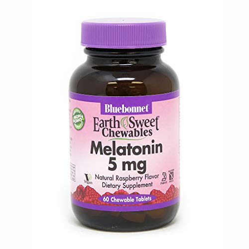 Bluebonnet Nutrition Earthsweet Chewables Melatonin 5 Mg, Raspberry, 60 Count