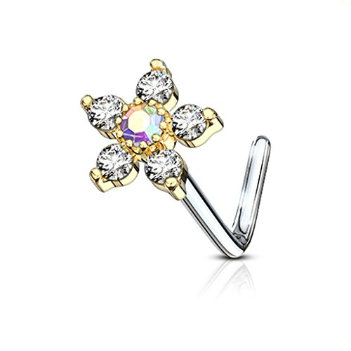 Fifth Cue 20G 6 CZ Flower Top 316L Surgical Steel L Bend Stud Nose Ring (Gold/Clear) ()