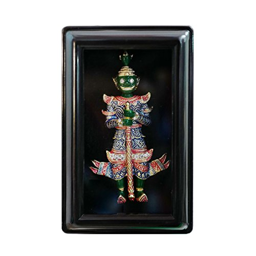 Stay Calm Handmade Green Giant Thai Khon Holding Bat Multi Color - Ramakien Act Art Hindu God Literature Pin Brooch Ramayana Story with Premium Decoration Frame Gifts (brooch2004)