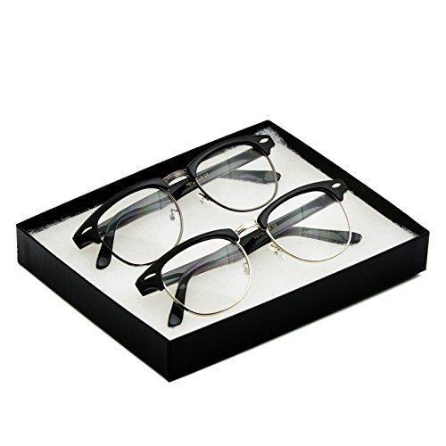 Vintage Inspired Classic Half Frame Horn Rimmed Clear Lens Glasses Silver/Gunmental Glossy Black Gift Box - Mens Black Glasses Rimmed