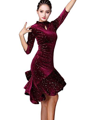 CHAGME-Latin-Dance-Dress-Velvet-Dress-Ballroom-Skirt-Waltz-Skirt-Rumba-Dress-Cha-Cha-Dress-Red-M