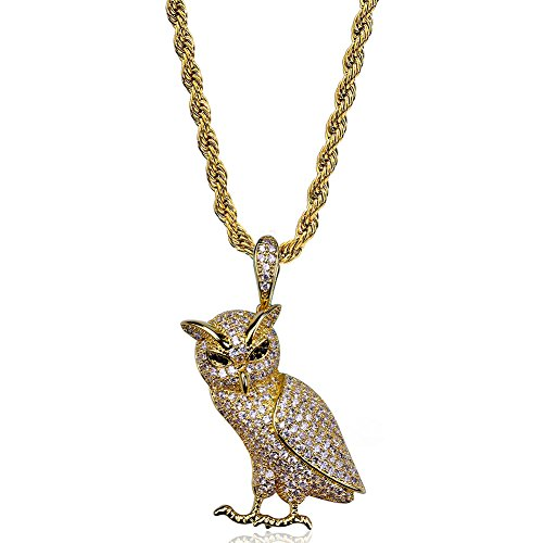 (Men's 14Kt Gold Tone Hip Hop Chain Zircon Owl Necklace Pendant for Women Unisex Punk)