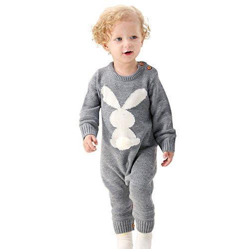 MiMiXiong Baby Sweater Toddler Jumpsuits Kid's Knitted Bunny Romper for Easter Christmas (18-24Months,Grey) -