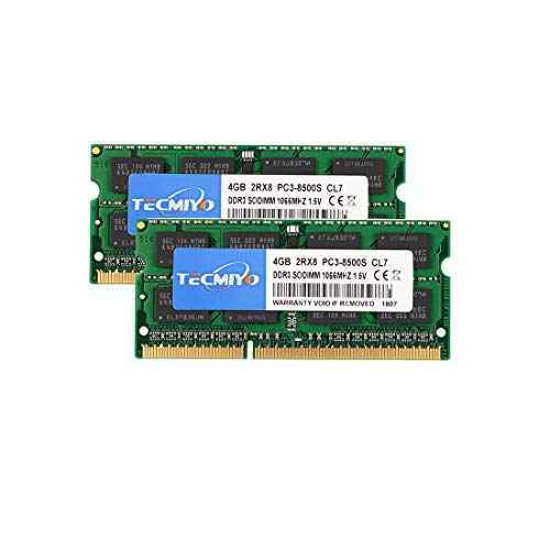 TECMIYO 8GB Kit (2x4GB) DDR3 1066 SODIMM (PC3-8500) 204 Pin 1.5V CL7 Laptop Notebook Computer Memory Ram Module