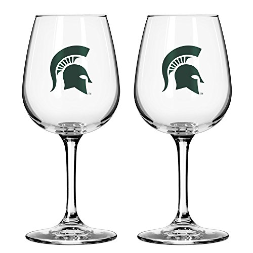 Spartans Game Day Wine Glass, 12-ounce, 2-Pack ()