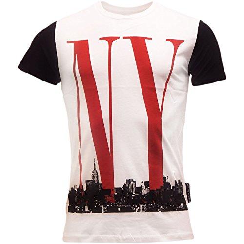 Criminal Damage Men's Short Sleeve Ny Line T Shirt X-Large White
