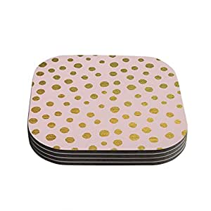 "Kess InHouse Nika Martinez ""Golden Dots and Pink"" Blush Coasters, 4 by 4-Inch, Pink/Orange, Set of 4"