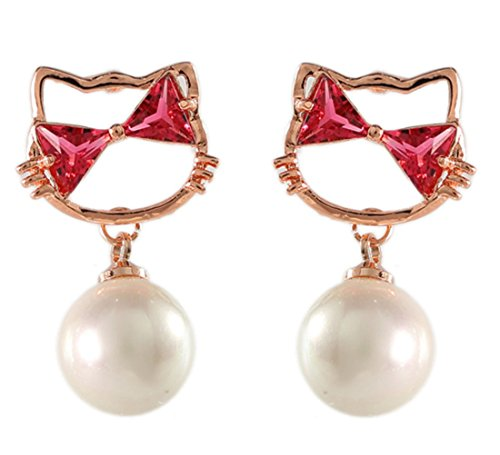 Cat Clip on Earring Dangle Simulated Pearl Clip for non Pierced Gold-tone for teen Girl Jewelry