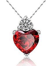 عقد على شكل قلب مع كريستال احمر - 925 فضة مطلي