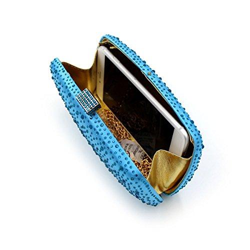 Flada - Cartera de mano para mujer plateado plata mediano azul