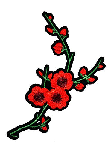 Nipitshop Patches Beautiful Red Cherry Blossom Flowers Patch Embroidered Sew Iron on Patch for Clothes Backpacks T-Shirt Jeans Skirt Vests Scarf Hat Bag