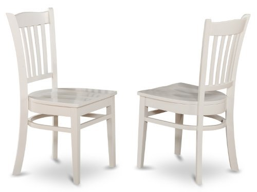 (East West Furniture GRC-WHI-W Dining Chair Set with Wood Seat, White Finish, Set of)