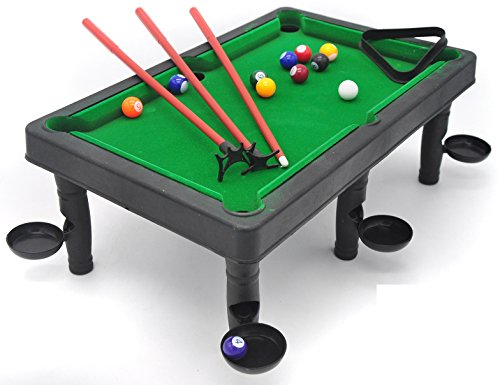 Petite Billiards– the classic pool table set with 6 stands with attached side/corner pockets; an animated play of snooker fun through the help of triangular rack, colorful snooker balls & (Classic Billiard Table)