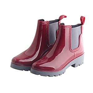 Omgard Women Ankle Rain Boots Rubber Waterproof Rainboot Low Heels Slip On Flats Shoes Color Red Size 8.5