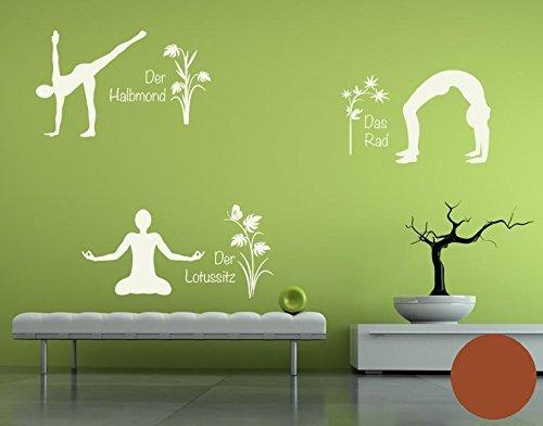 Klebefieber Wandtattoo Yoga Figuren Set 4 B x H  110cm x 170cm Farbe  Creme B0711D972W Wandtattoos & Wandbilder