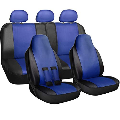 Motorup America Auto Seat Cover Full Set - Fits Select Vehicles Car Truck Van SUV - Newly Designed PU Leather - Blue & Black ()