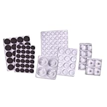 Self Stick Bumpers Variety of Sizes Assortment, Round & Square, 120 Pieces, Clear - Foam