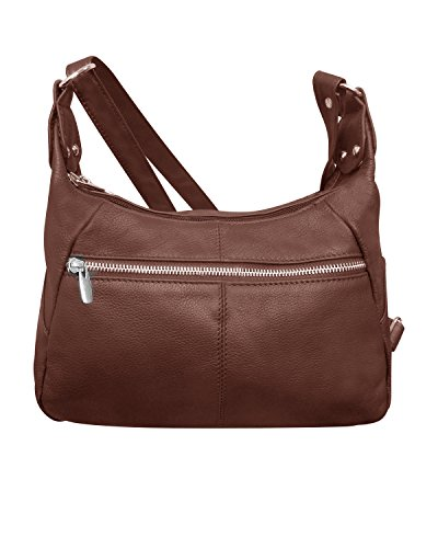 Shoulder Purse Leather Brown Adjustable Long Leathers Main Roma Strap Double Compartments TnRAxTEO