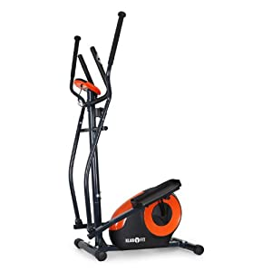 Klarfit Ellifit FX 250 Crosstrainer Nordic Walking Ellipsentrainer (inkl. Handpulsmesser, Trainingscomputer, bis 110kg) schwarz-orange