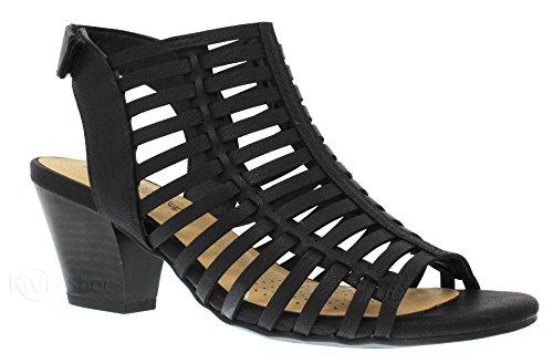 MVE Shoes Women's Open Toe Buckle Straps Block Heel - Low Stacked Wood Heeled Sandals - Vegan Leather Sandals-Open Toe Back Zipper Chunky Heel Pumps, Black nbpu Size 10 (Pump Shoe Heel Stacked)
