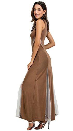 d5275f566b6 ... Column Taille Kaffee Ausgestellte Lange Blockfarben Arm Netzeinsatz  Kleid Kontrastfarbe Maxi A-linie Ohne A