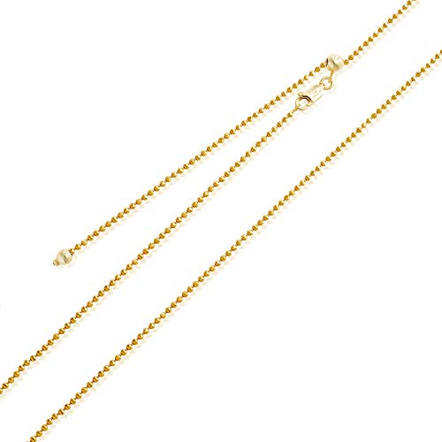 Sea of Ice Yellow Gold Flashed Sterling Silver 1mm Round Ball Bead Chain Adjustable Necklace, Size 22""