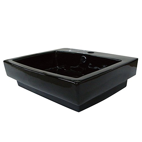 Kingston Brass Plaza Black China Vessel Bathroom Sink with Overflow Hole & Faucet Hole - Black, Bathroom Plumbing fixtures & Sinks]()