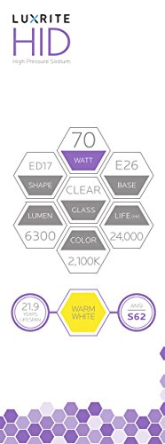 Luxrite LR20690 (2-Pack) LU70/ED17 70-Watt HID High Pressure Sodium Light Bulb, Warm White 2100K, 6300 Lumens, E26 medium base by Luxrite (Image #3)