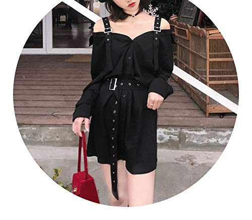 Vintage Hard Black Dress Harajuku Gothic Off Shoulder Shirt Dress Punk Style -