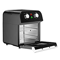 1600W 12.7 Quart Air Fryer Oven With Rotisserie Dehydrator Hot Air Circulation System For Healthy Cooking Without Extra Fat Or Calories Can Be Used To Grill Roast Bake Dehydrate Rotating Function Perfect For Cooking A Turkey