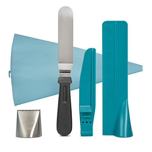 Frost Large Serving Spoon (Cake Decorating Teal Set By Frost Buddy: Cake Scraper , Cake Smoother For Smooth Spreading Of Frosting, Icing And Cream, Adjustable Size For All Pastries, With Icing Tip, Pastry Piping Bag, Spatula)