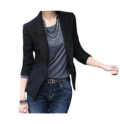 Discount KLJR-Women Plus Size Solid Slim Fit One-Button Suit Pocket Blazer Jacket