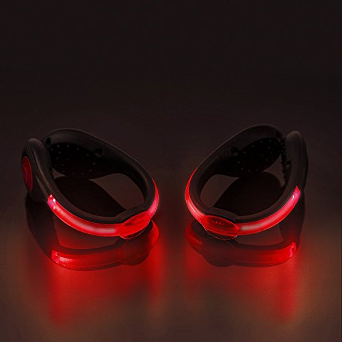 SLDHR LED Shoes Clip Lights USB charging for Night Running Gear, Color Changing RGB Strobe and Steady Color Flash Mode, Safety Clip Lights for Running, Jogging, Walking, Biking(One Pair) (red)