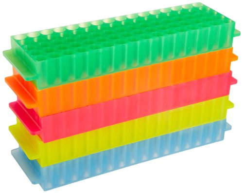 Bio Plas 0061 Polypropylene 80 Well Microcentrifuge Tube Rack, Autoclavable, Assorted (Pack of 5)