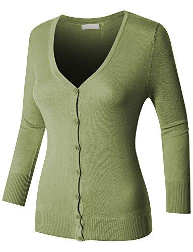 RubyK Womens Plus Size Clean Rib Fine Knit 3/4 Sleeve Cardigan Sweater