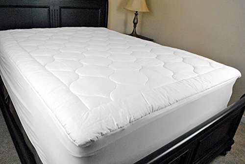 DII Home Essentials 300 Thread Count 100% Cotton Top Fabric, 8-Ounce, Medium Fill, Breathable, Hypo Allergenic Plush Basic Mattress Pad, Twin (Fill Hypoallergenic Mattress Pad)