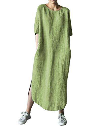 (AUDATE Women's Cotton Linen Dresses Short Sleeve Baggy Loose Summer Kaftan Dress Green M)