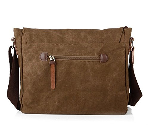Lalagen Cotton Canvas Retro Field Small Messenger Bag Coffee by Lalagen (Image #1)