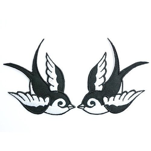 2x Swallows Black & White Birds patches Embroidered iron/sew on Patch to Cloth, Jacket, Jean, Cap, T-shirt and Etc. /Size 8.7x7.3 (Bird Embroidered Iron)