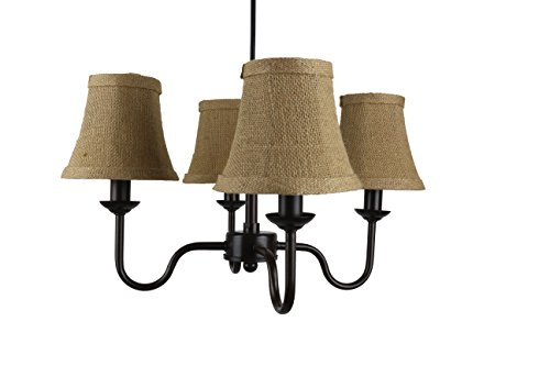 - Urbanest Portable Shire 4-Light Chandelier with Burlap Bell Shades, Oil-Rubbed Bronze Finish