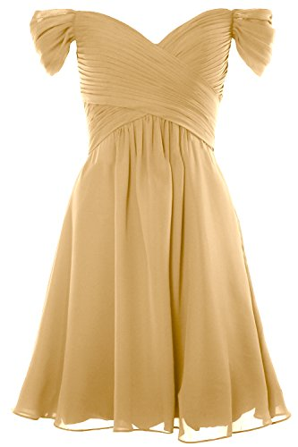 Wedding Dress Cocktail 2018 Shoulder Women Formal MACloth Gold Short Gown Party Off nxFa0UnwIq
