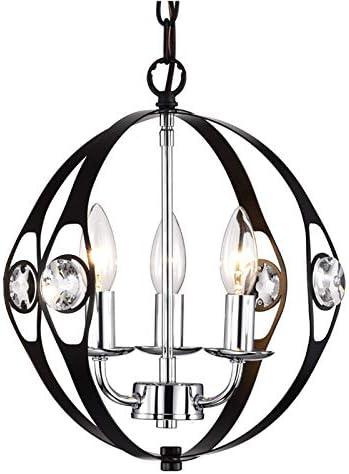 Black Chandelier Small Orb Chandelier Lighting Modern Crystal Chandeliers 3 Light Sphere Chandelier