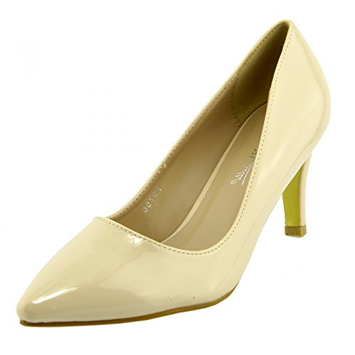 Womens court shoes Ladies smart mid high heel work office formal shoes Nude 6LvbOEkLP